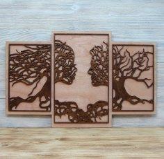 Laser Cut Tree Couple Wall Decor Free Vector