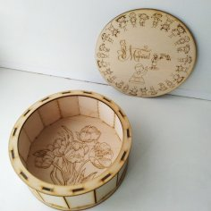 Laser Cut Engraved Round Wooden Gift Box DXF File