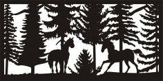 Wildlife Metal Art Panel DXF File