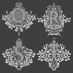 Ornamental Letters Vector Art Free Vector