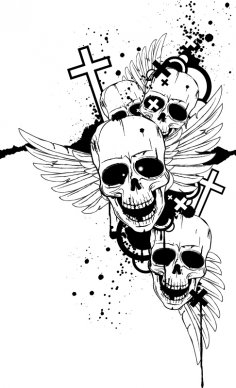 Black and White Image With Skulls Free Vector