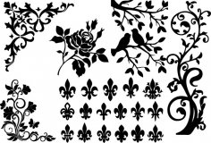 Ornametal Floral Designs Free Vector