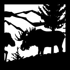 24 X 24 Bull Moose Cow Mountains Plasma Cut Art DXF File