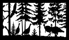 28 X 48 4 Turkeys And Eagle Plasma Art DXF File