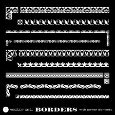 Borders With Corners Isolated On Black Background Free Vector