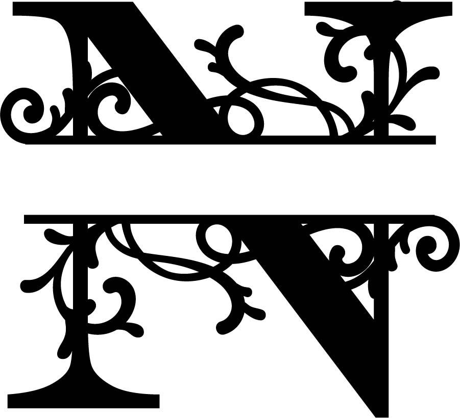 Flourished Split Monogram N Letter Free Vector