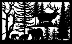 30 X 48 Three Bears Elk Plasma Art DXF File