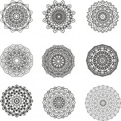 Mandala Design Set Free Vector