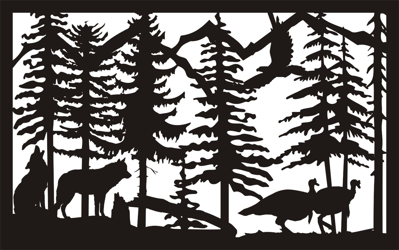 30 X 48 Two Wolves Turkeys Plasma Metal Art DXF File