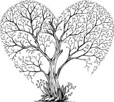 Laser Cut Engraving Tree Heart Art Free Vector