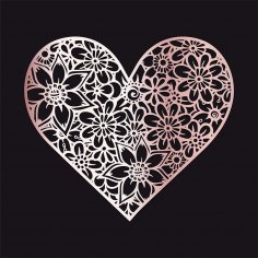Laser Cut Engraving Floral Heart DXF File