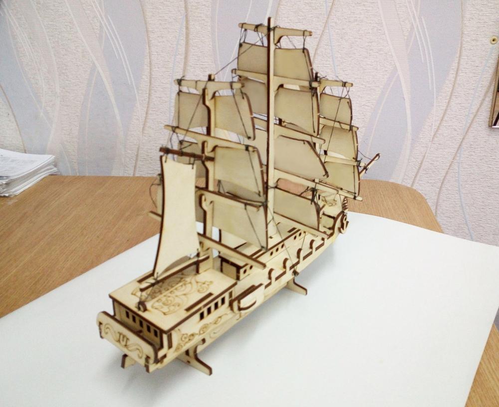 Laser Cut Merchant Ship Sailing Boat Free Vector