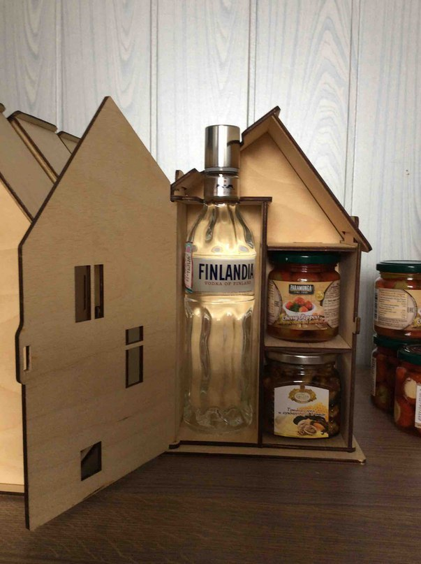 Laser Cut House Shaped Vodka Gift Box 4mm Plywood Free Vector