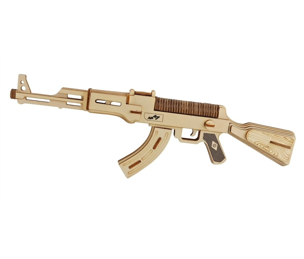 Laser Cut AK-47 Submachine Gun Model 3D Wooden Puzzle Free Vector