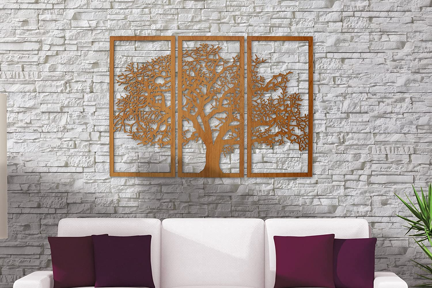 Laser Cut Tree Of Life 3 Panel Wood Wall Art Free Vector