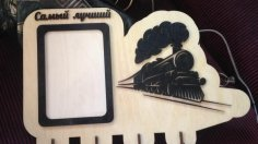 Laser Cut Steam Locomotive Key Hanger With Photo Frame SVG File