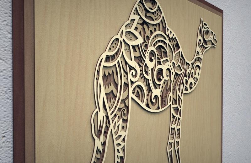 Laser Cut Camel 3D Multi Layer Wall Art Free Vector