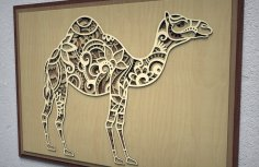 Laser Cut Camel 3D Multi Layer Wall Art Free Vector