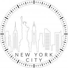 Laser Cut New York Cityscape Clock DXF File