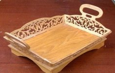 Laser Cut Decorative Tray with Handles Template Free Vector