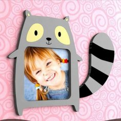 Laser Cut Raccoon Picture Frame Free Vector