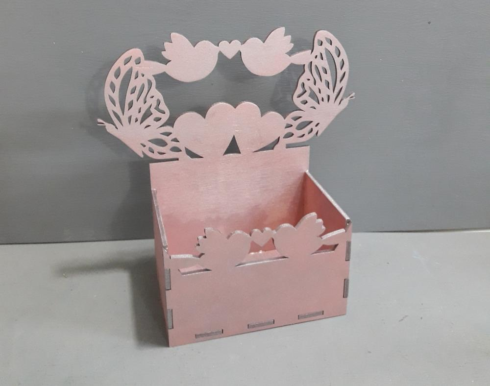 Laser Cut Box with Butterflies and Hearts Free Vector