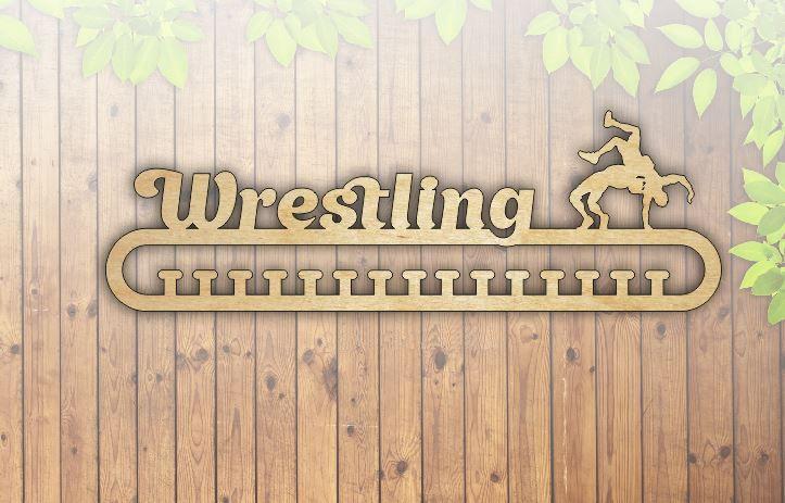 Laser Cut Wrestling Medal Hanger Template Free Vector