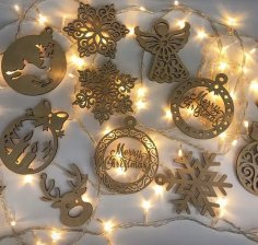 Laser Cut Christmas Hanging Pendants Drop Ornaments Free Vector