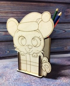 Laser Cut Mouse Pencil Holder Organizer Free Vector
