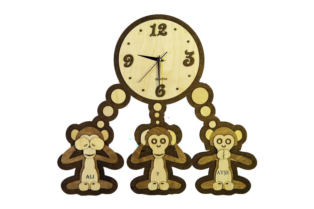 Laser Cut Three Monkeys Clock Template Free Vector