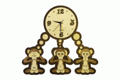 Laser Cut Three Monkeys Clock Template Free Vector