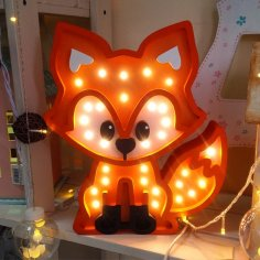 Laser Cut Fox Nightlight Lamp Free Vector