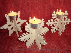 Laser Cut Snowflake Candle Holder Free Vector
