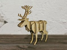 Laser Cut Wooden 3D Northern Reindeer Free Vector
