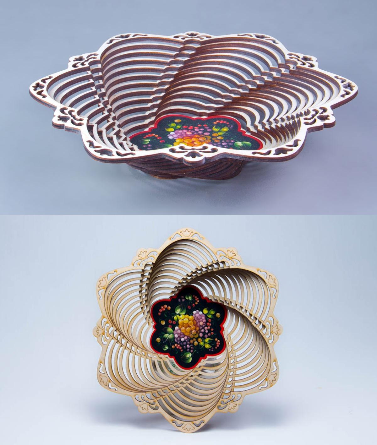Laser Cut Wooden Decorative Basket Home Decor Plans DXF File