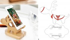 Wooden Cell Phone Stand Charging Dock Hold Laser Cut Free Vector