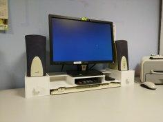 Laser Cut Desktop Monitor Riser Desk Organizer Storage Shelf For Computer DXF File