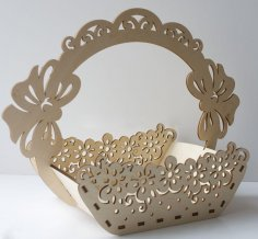 Laser Cut Wooden Decorative Basket With Handle Free Vector