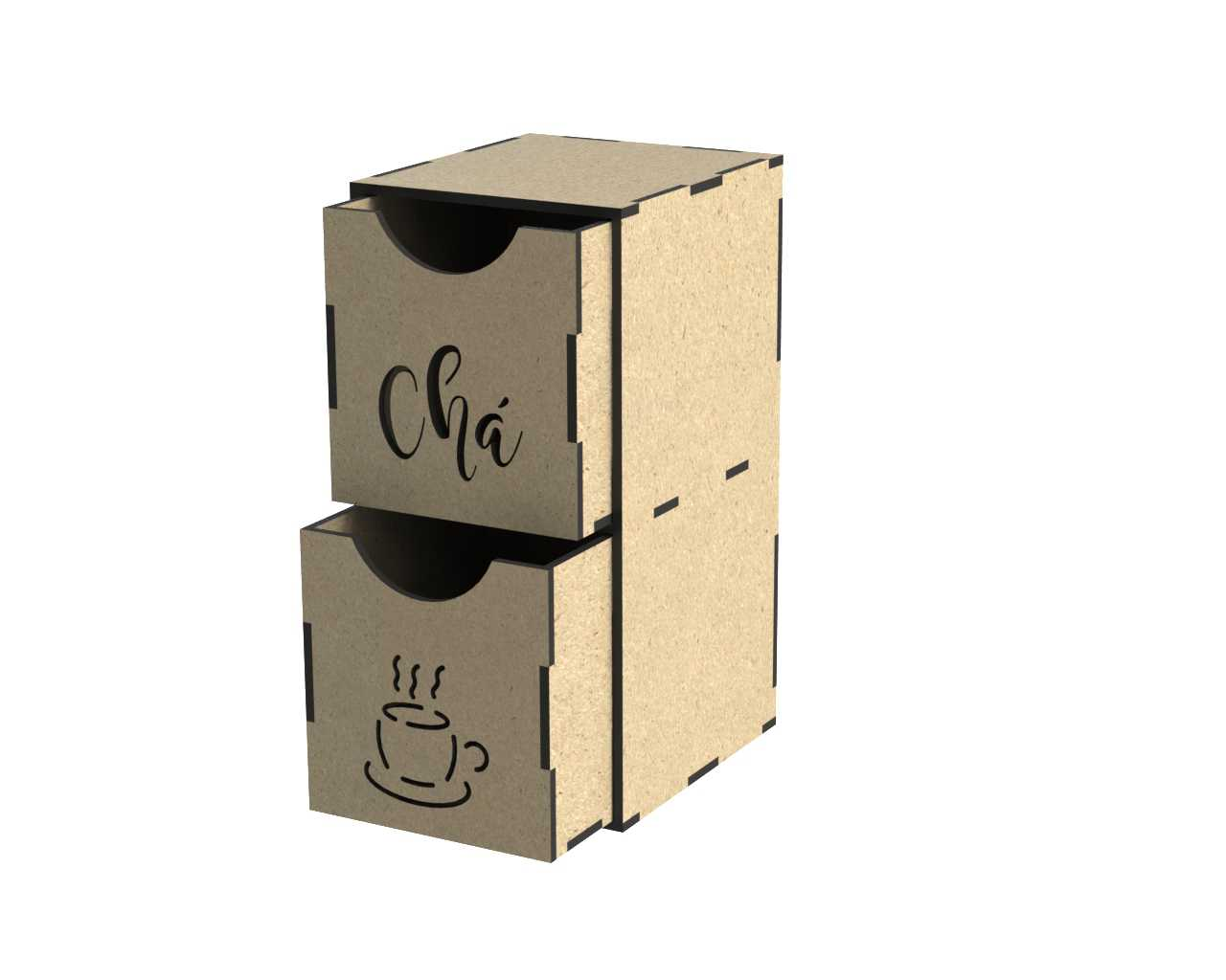 Laser Cut Tea Box With Drawers DXF File