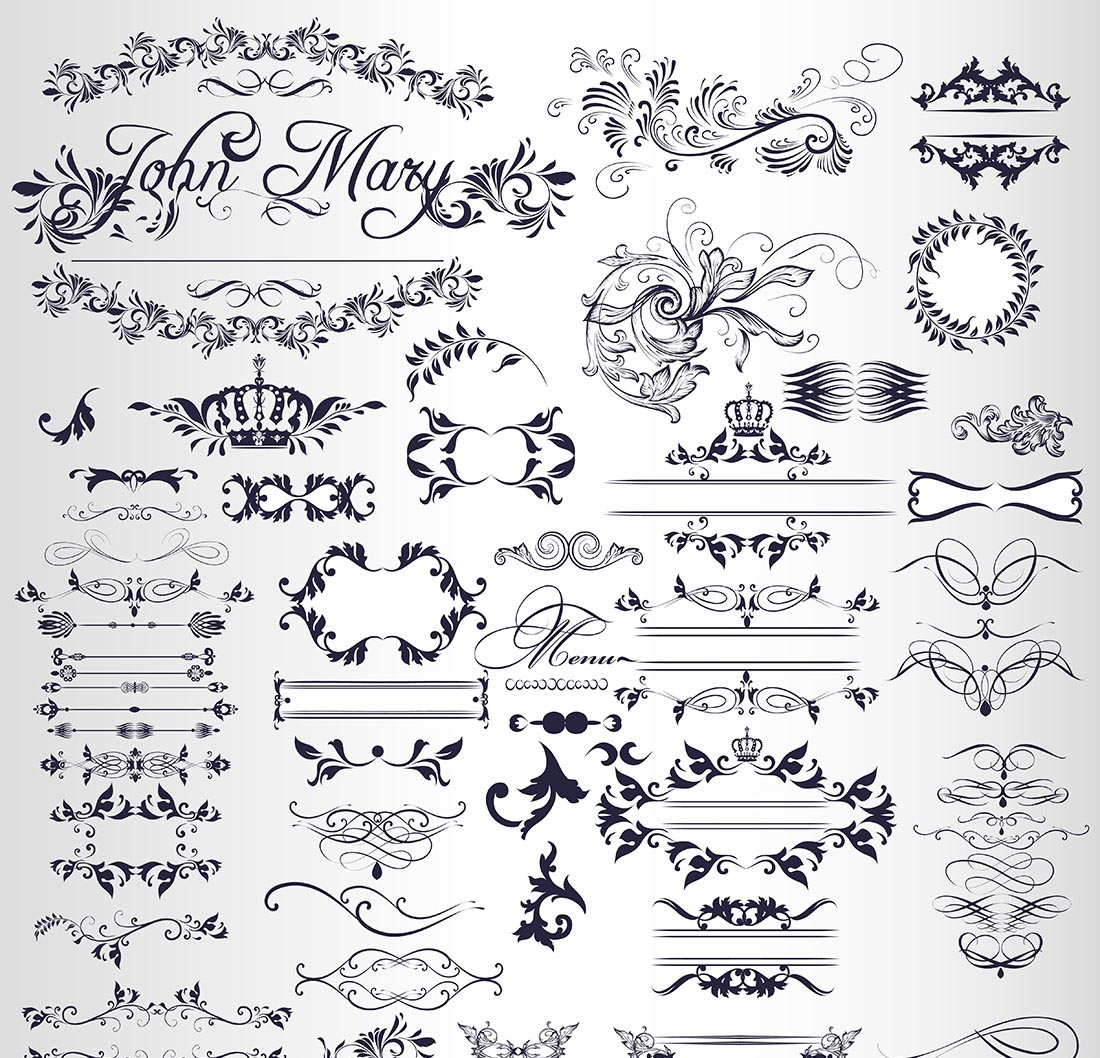 Set Of Decorative Ornaments Free Vector