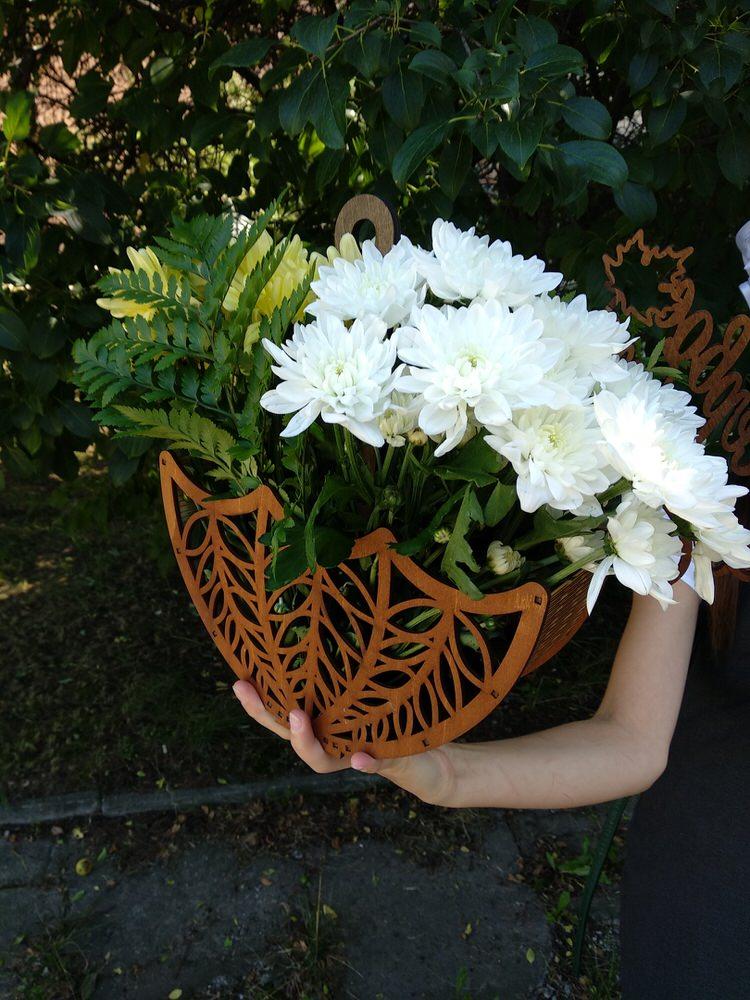 Laser Cut Wooden Decorative Flower Basket Free Vector