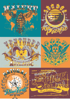 T-shirt Labels Illustrations Free Vector