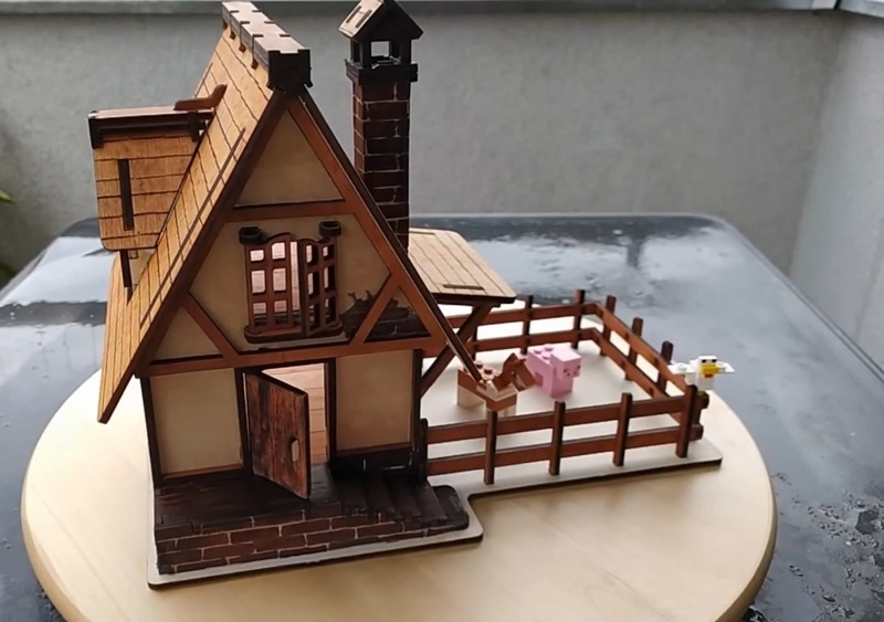 Laser Cut Wooden Village House DXF File