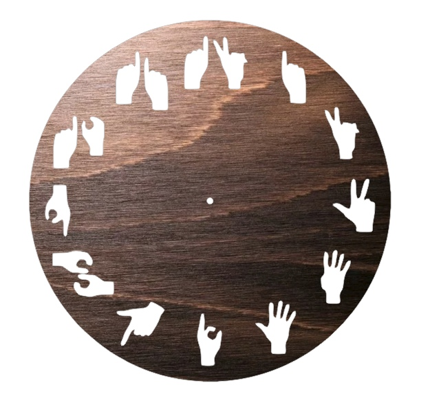 Laser Cut Hand Signs Wall Clock Free Vector