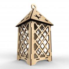Laser Cut Wooden Elegant Lantern Free Vector