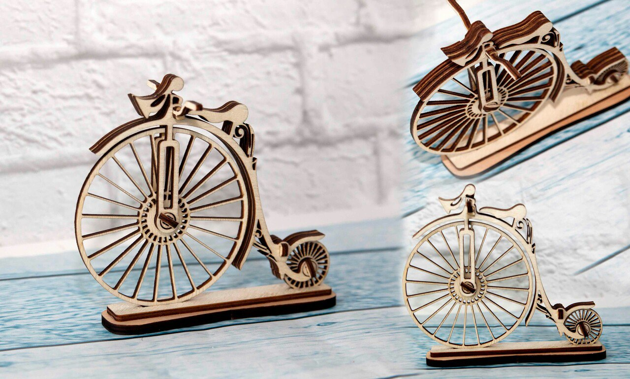 Laser Cut Bicycle 3D Puzzle Free Vector