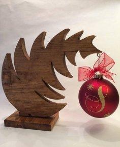 Laser Cut Christmas Tree Ornament Hanger Free Vector