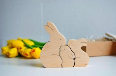 Laser Cut Wooden Bunny Puzzle Bunny Family Easter Kids Gift Toys Free Vector