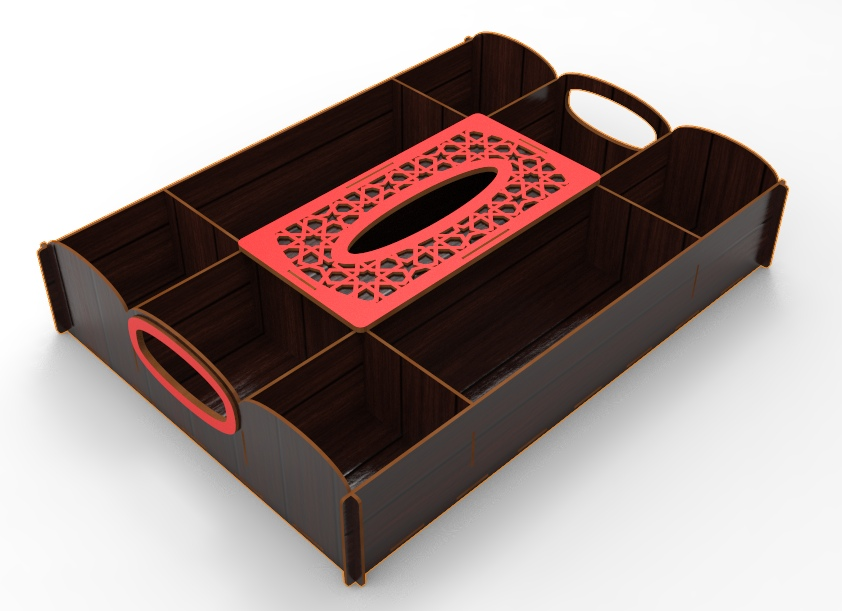 Laser Cut Dried Fruit And Nuts Tray With Tissue Box Free Vector