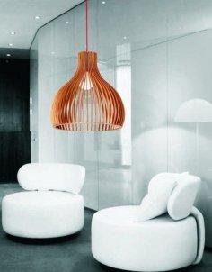 Laser Cut Modern Wooden Pendant Lamp Free Vector